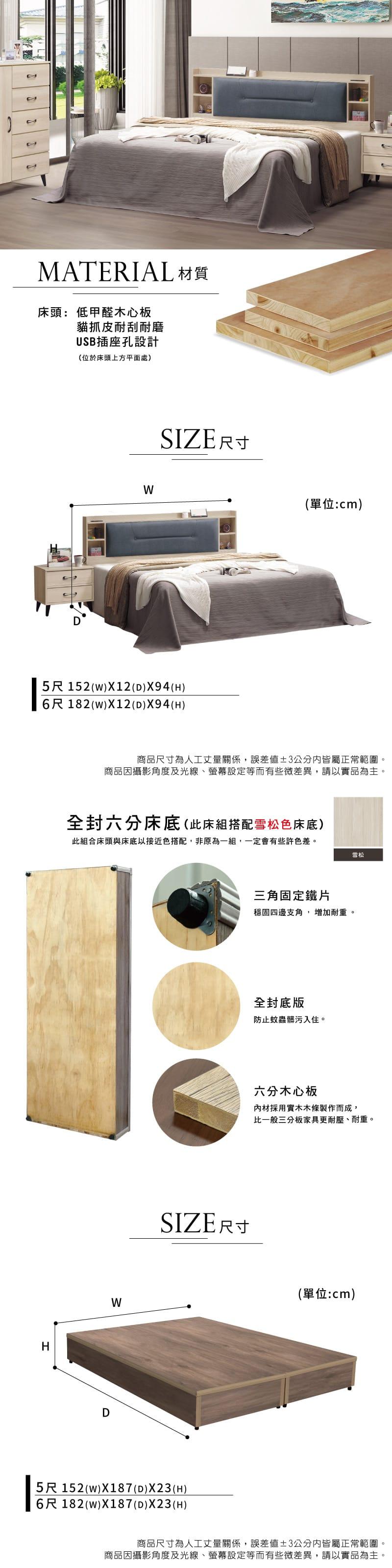 貓抓皮附插座床組兩件 雙人加大6尺(床頭片+床底)【庫洛瑪】