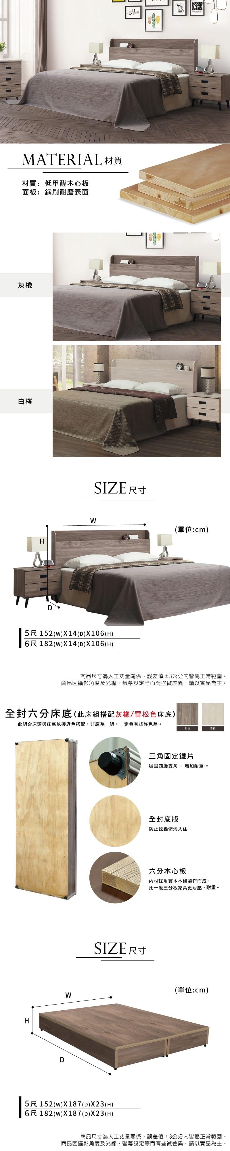 床組兩件 雙人加大6尺(床頭片+床底)【威爾】