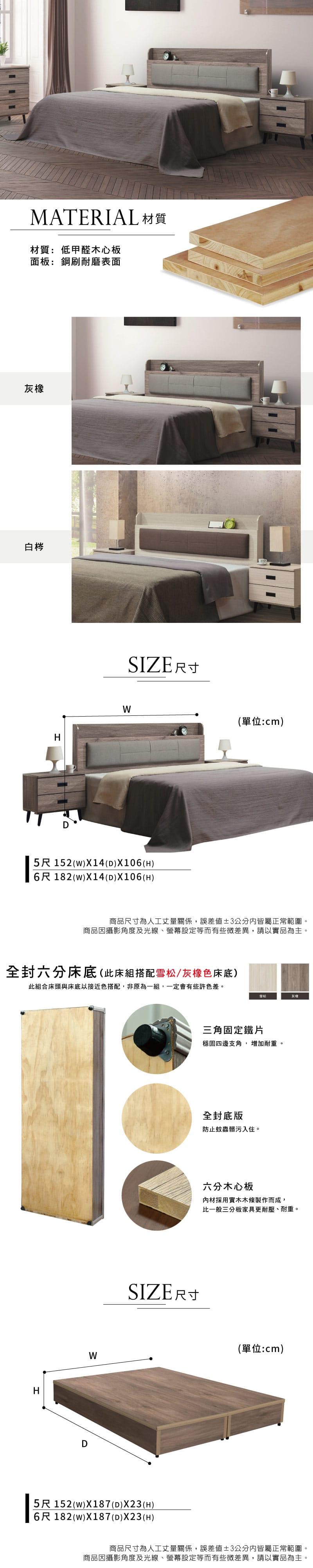 貓抓皮床組兩件雙人加大6尺(床頭片+床底)【威爾】