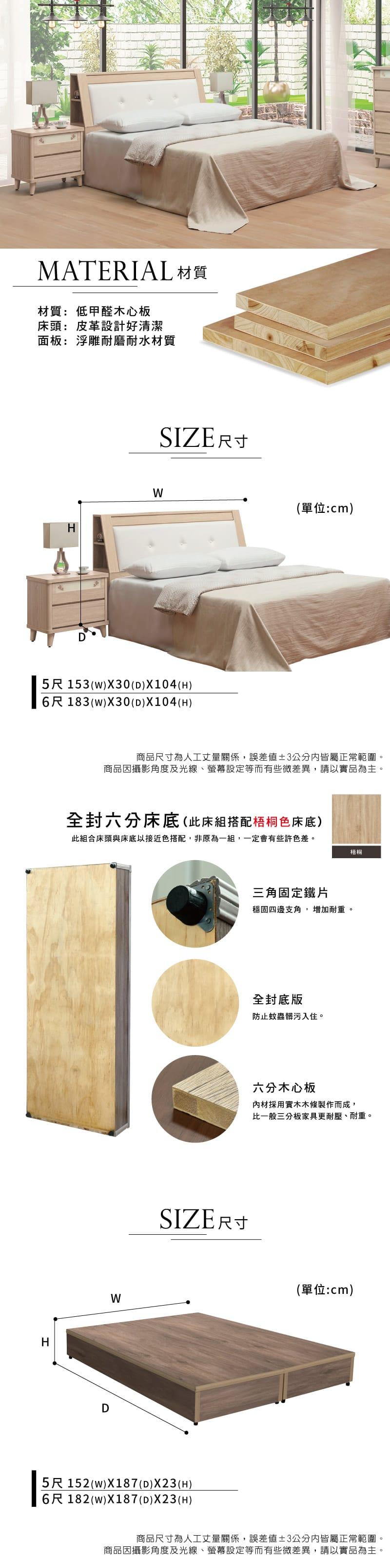 原切收納床組兩件 雙人5尺(床頭箱+床底)