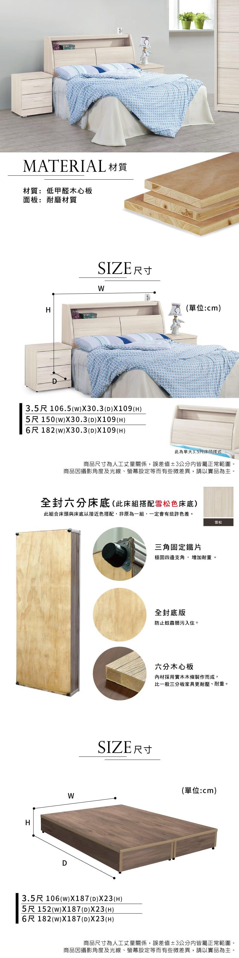 白梣木收納床組兩件 雙人5尺(床頭箱+床底)