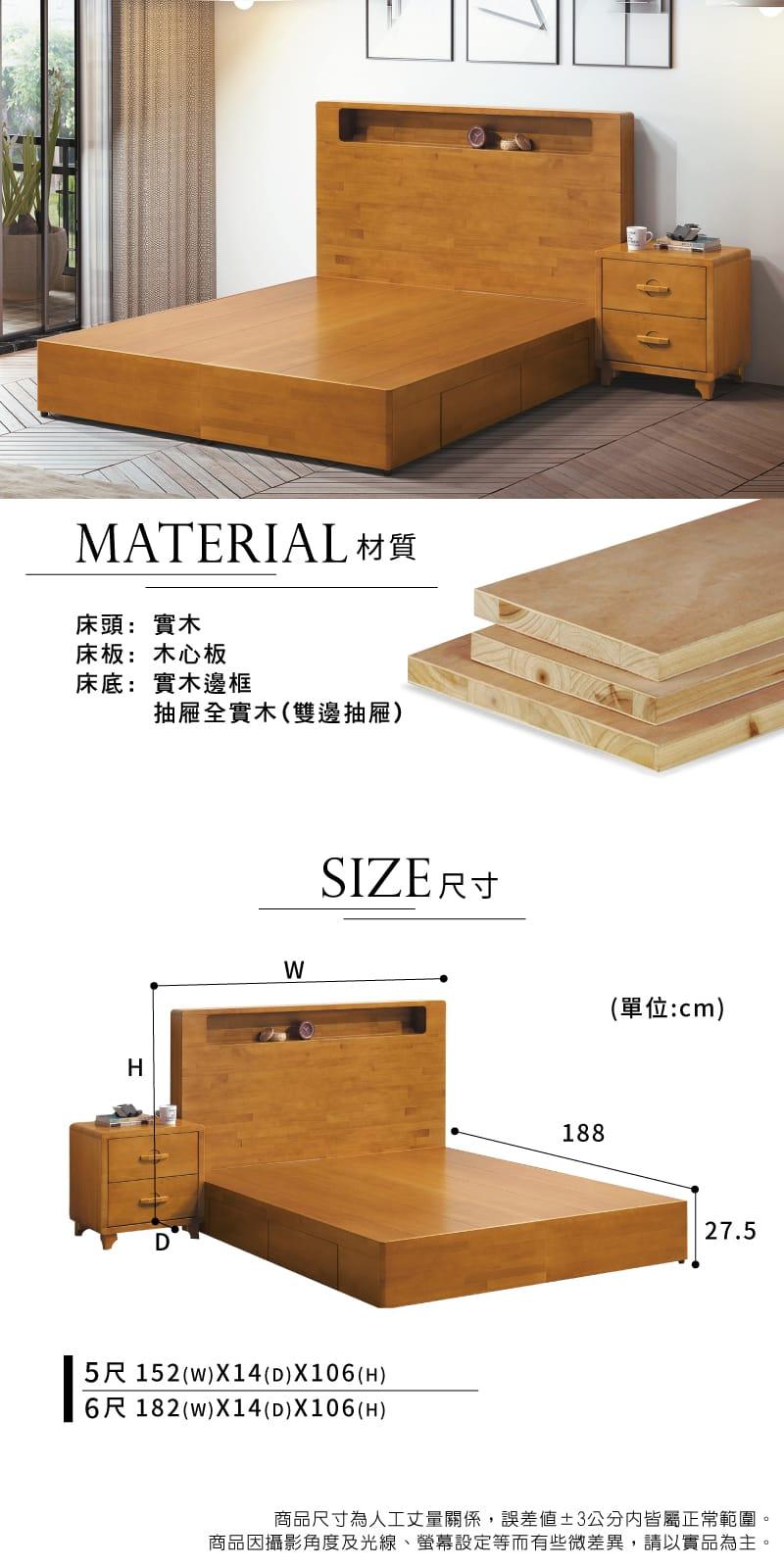 實木收納床組兩件 雙人加大6尺(床頭片+抽屜床底)【貝雅】