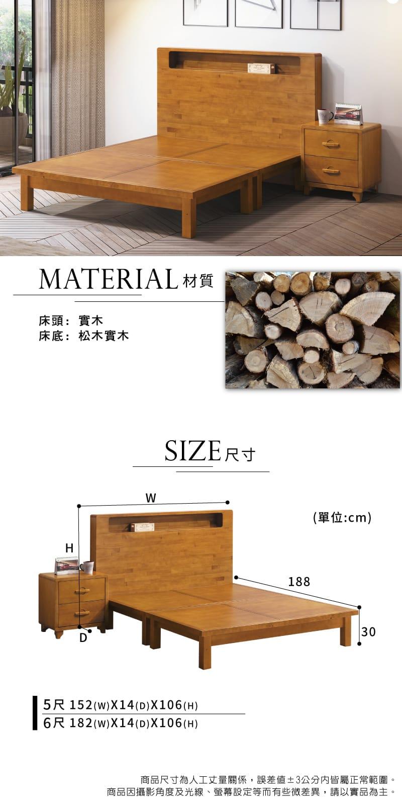 實木收納床組兩件 雙人加大6尺(床頭片+床底)【貝雅】