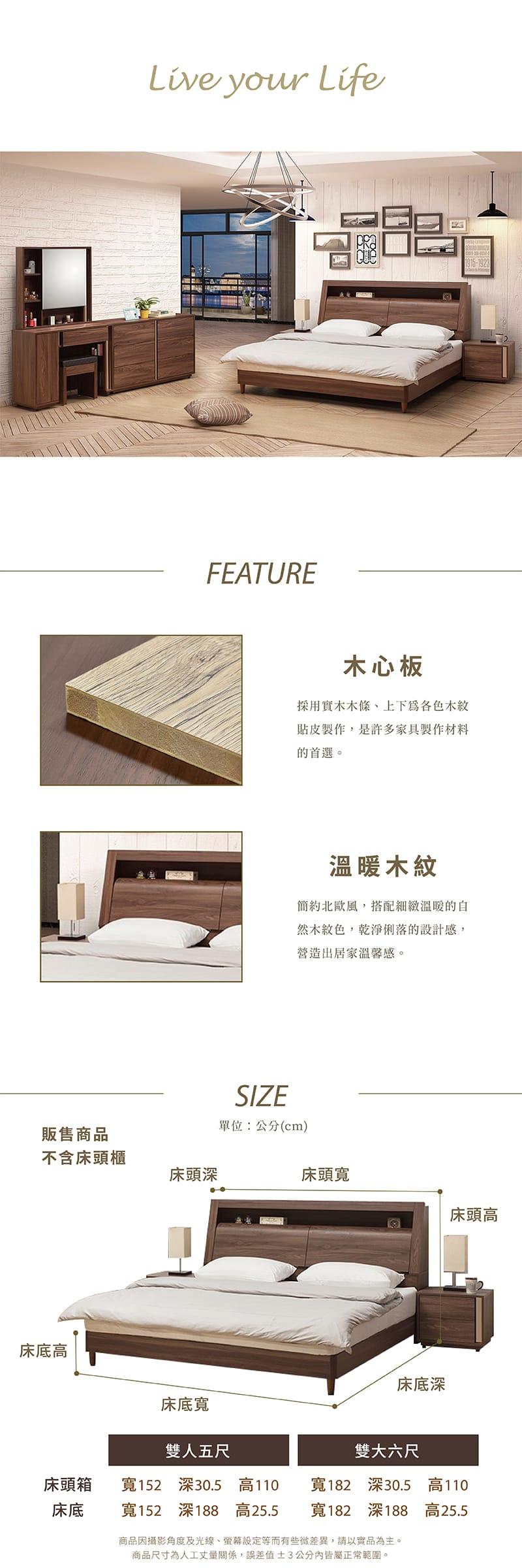 達爾文 收納床組兩件 雙人5尺(床頭箱+床底)