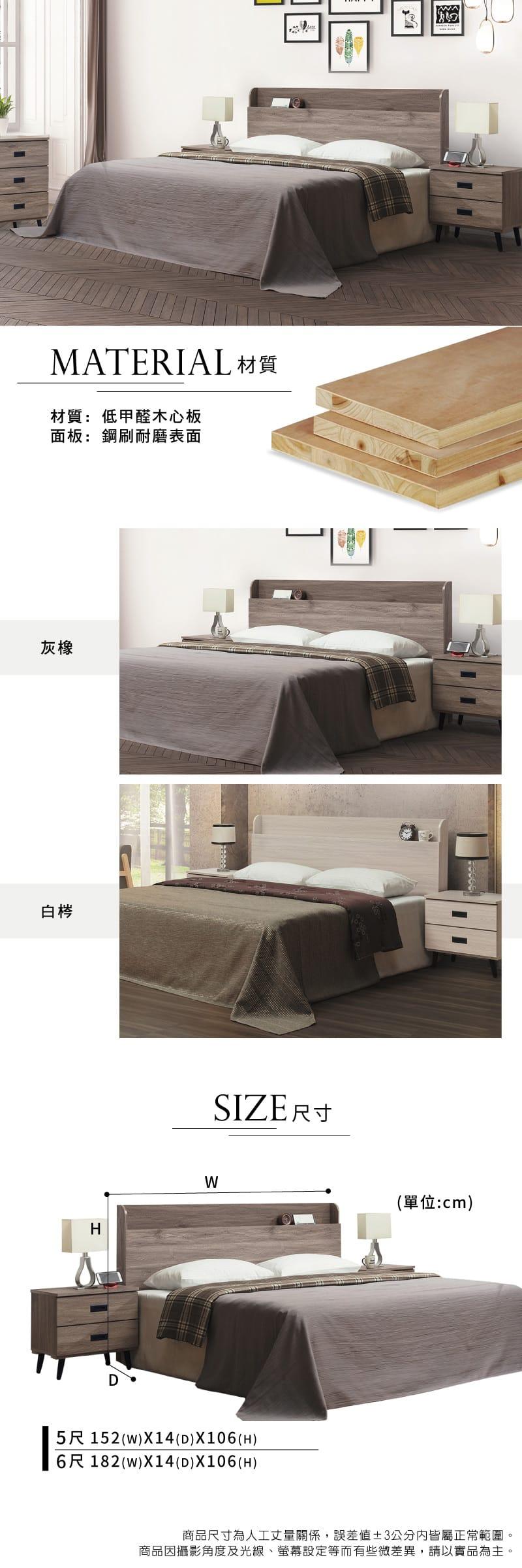 床頭片 雙人5尺【威爾】