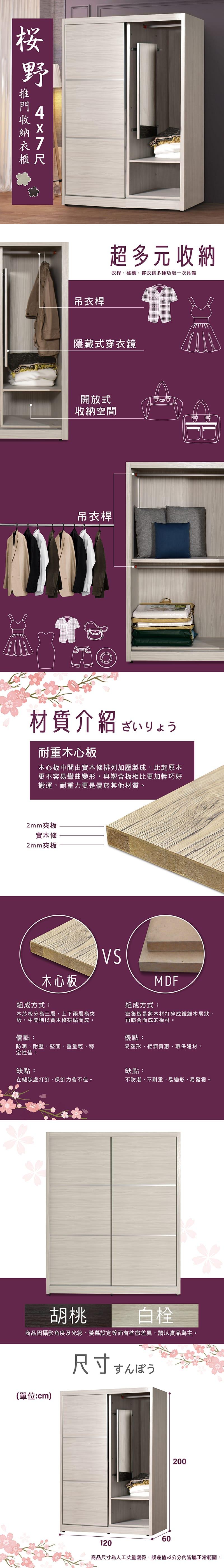滑門收納置物衣櫃 寬121cm【櫻野】