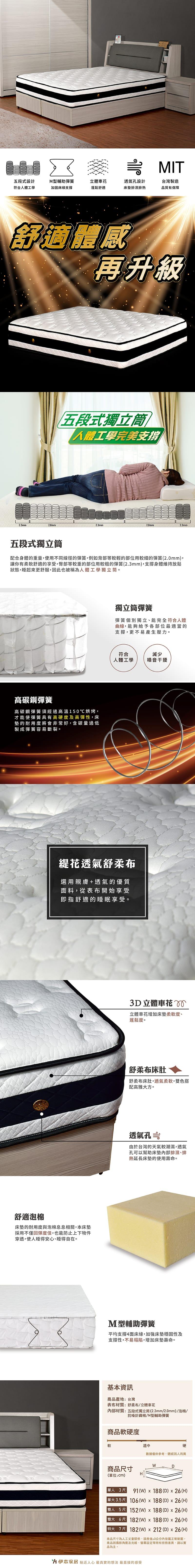 透氣獨立筒床墊 單人3尺(水晶系列)