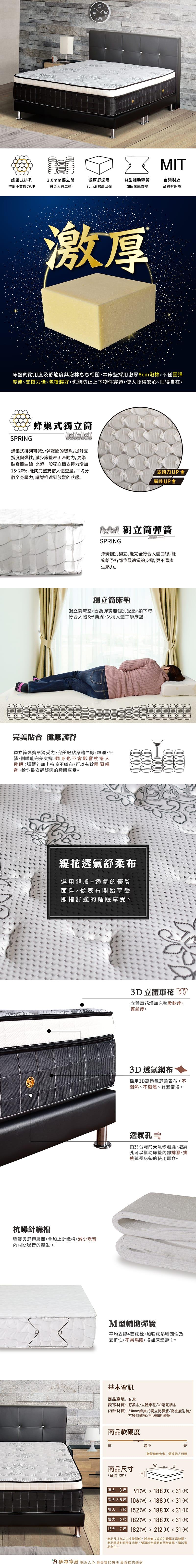 蜂巢獨立筒床墊 雙人加大6尺(水晶系列)