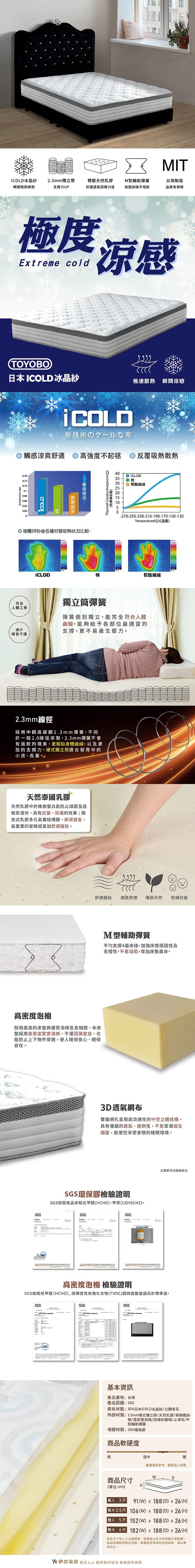 冰晶紗涼感乳膠獨立筒床墊 單人加大3.5(鑽石系列)