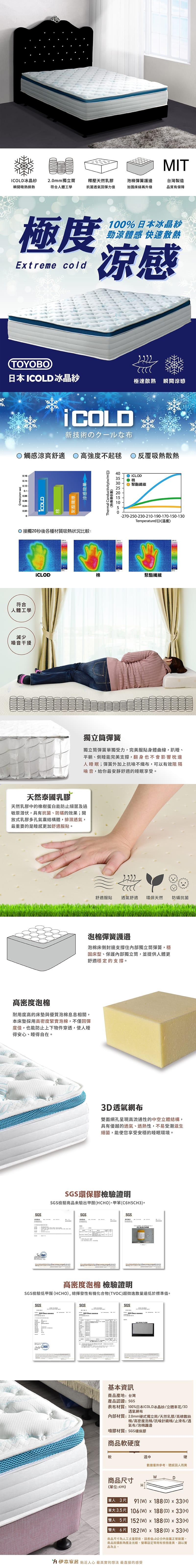 冰晶紗涼感乳膠獨立筒床墊 單人加大3.5(尊榮系列)