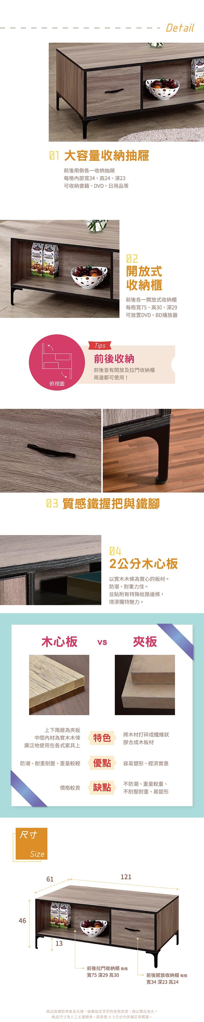 工業風收納茶几 寬121cm(客廳桌系列)【薩爾】