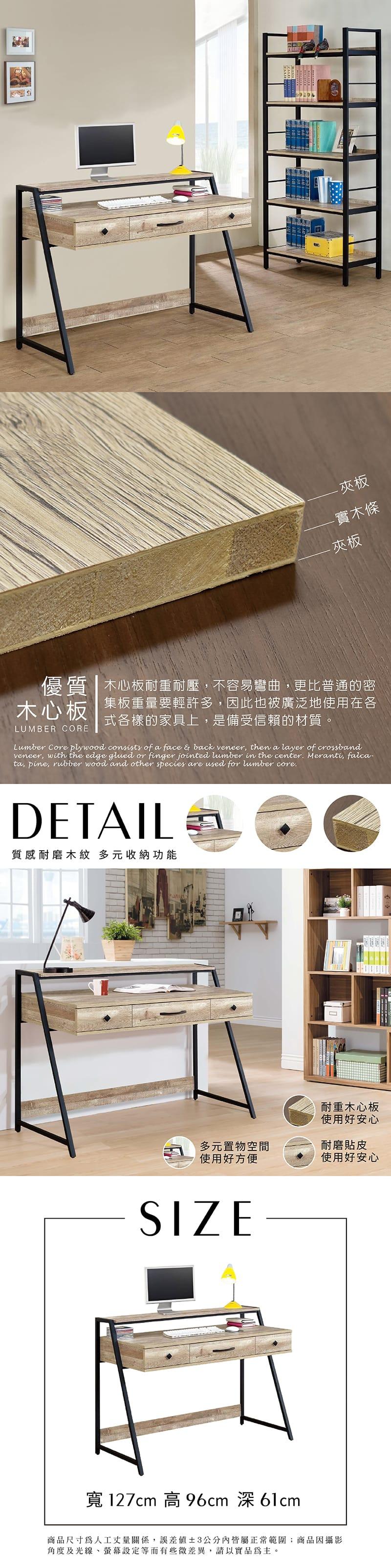 曼斯 工業風書桌 寬127cm(抽屜系列)