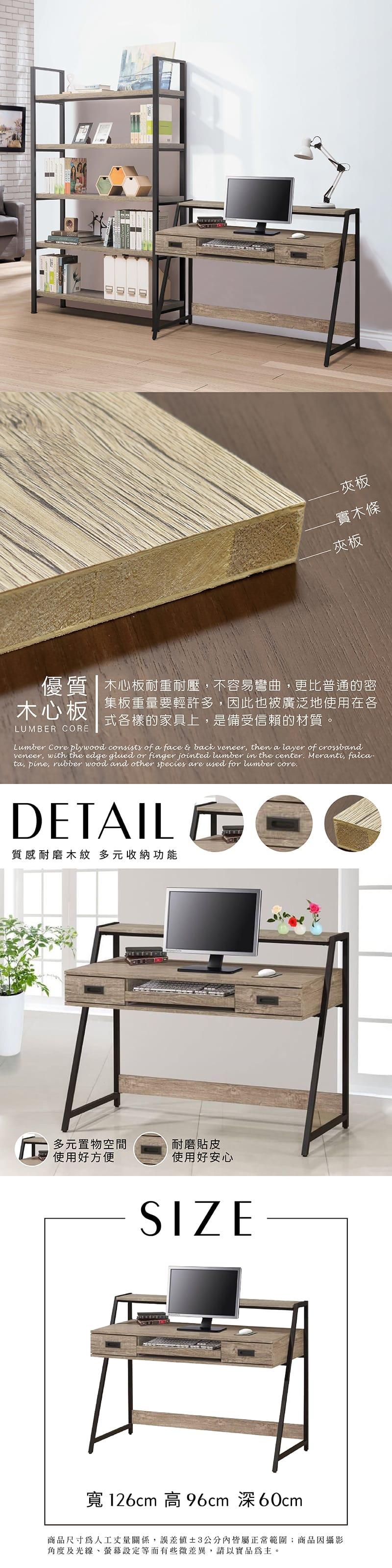 曼斯 工業風書桌 寬126cm(鍵盤架系列)